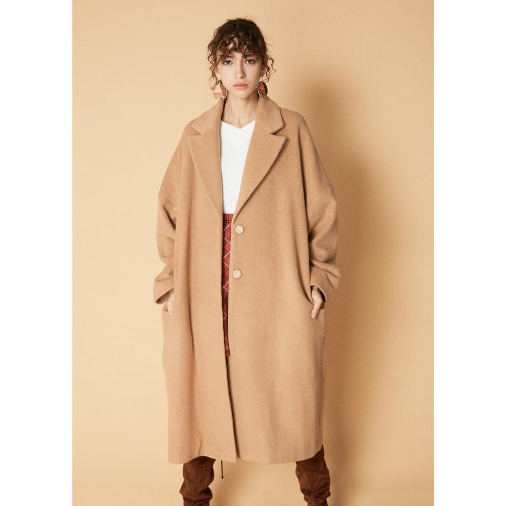 C&A CA200211022-FD 中长宽松褶饰羊毛呢大衣